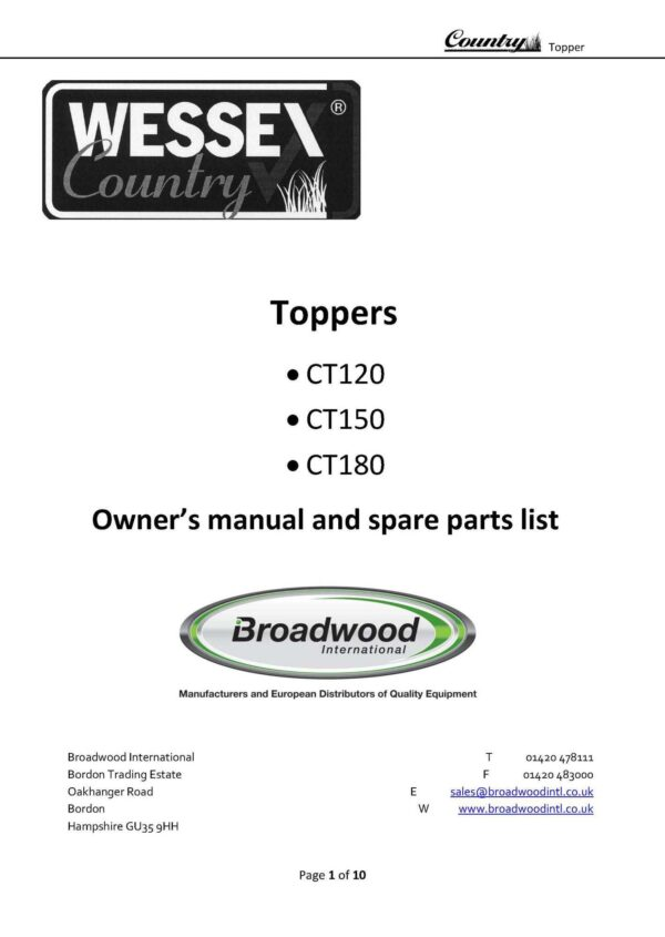 Country toppers old model page 01 - professional groundcare & agricultural equipment