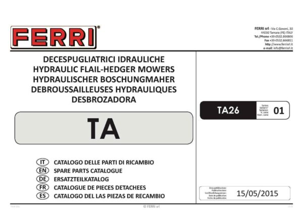 Ferri ta26 parts book page 01 - professional groundcare & agricultural equipment