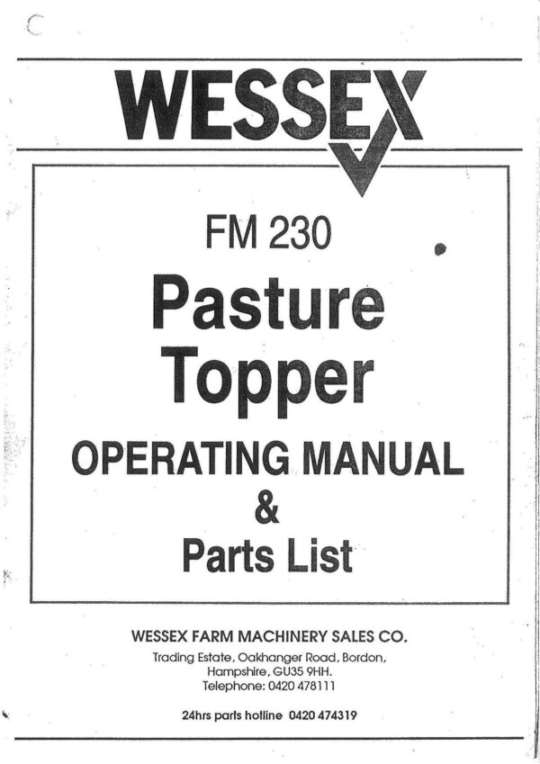 Fm 230 pasture topper page 1 - professional groundcare & agricultural equipment