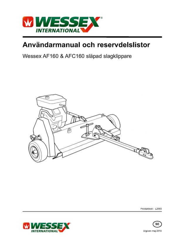 L2003 af160 afc160 flail mower swedish page 01 - professional groundcare & agricultural equipment