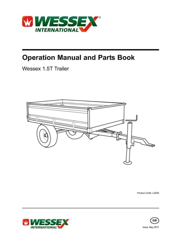 L2030 wessex 1. 5t trailer page 01 - professional groundcare & agricultural equipment