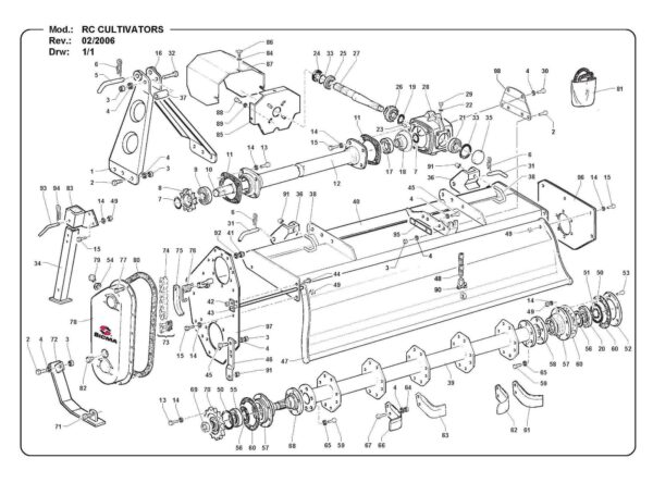 Rc130 150 rotary cultivator parts list page 1 - professional groundcare & agricultural equipment