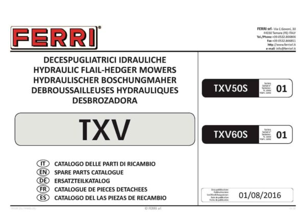 Txv60 manual page 01 - professional groundcare & agricultural equipment
