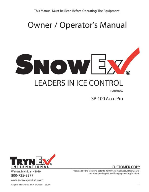 Manual sp100 - professional groundcare & agricultural equipment