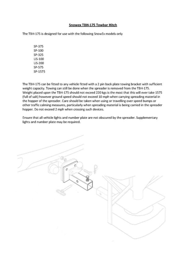 Snowex tbh hitch manual - professional groundcare & agricultural equipment